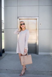 krystal schlegel,blogger,jeans,blouse,top,dress,shoes,bag,sunglasses,handbag,mini dress,long sleeve dress,sandals,high heel sandals,spring outfits