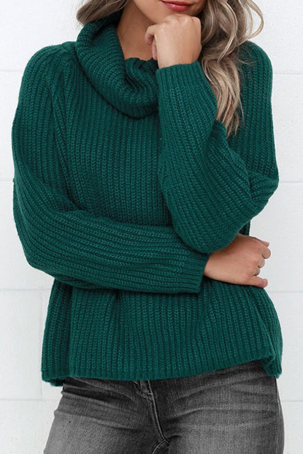 Casual Turtleneck Solid Color Raglan Sleeve Pullover ...