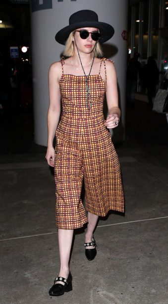 shoes jumpsuit plaid hat emma roberts