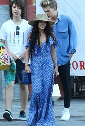 dress,maxi dress,vanessa hudgens,hat,summer dress,purse,blue dress,celebrity style