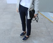 shoes,superga,sneakers,blue sneakers,pants,black pants,top,white top,cardigan,grey cardigan,bag,pouch,black pouch,black bag