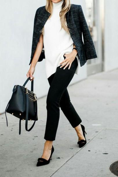 affef75494a7 pants tumblr black pants capri pants pumps pointed toe pumps high heel  pumps bag black bag