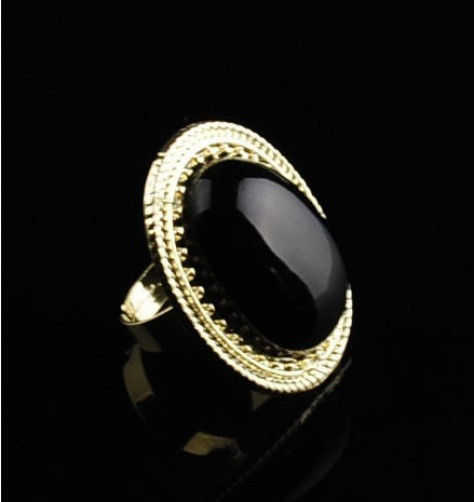 Hot Fashion Retro Alloy Big Oval Black Stone Gold Adjustable Ring R102 | eBay