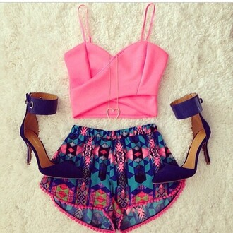 crop tops pink top shorts aztec short shorts blue heels high heel sandals shirt shoes top crossover pink tank top