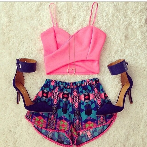 crop tops pink top shorts aztec short shorts blue heels high heel sandals