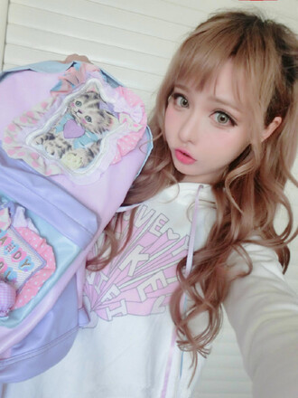 bag cream colored harajuku cat backpack kawaii fairy kei pastel pastel goth jumpsuit jumper white pink baby pink letters hood hoodie girly