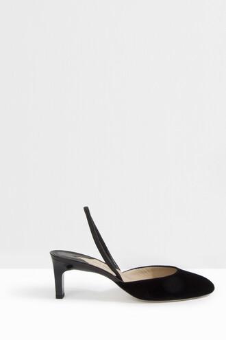 women heels velvet black shoes