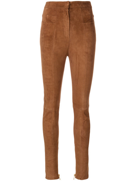 Balmain high women cotton suede brown pants