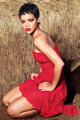rihanna red dress red lipstick