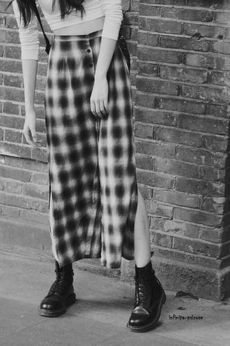 maxi skirt grunge flannel plaid checkered