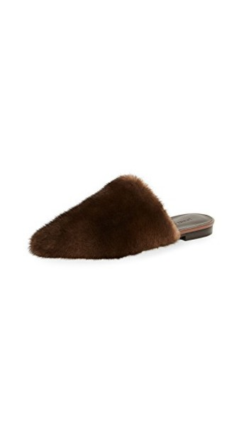 fur mules dark brown shoes