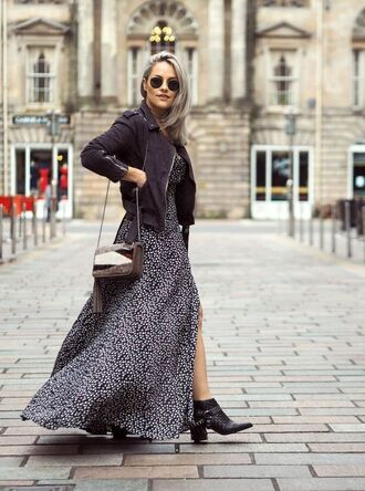 dress tumblr printed dress maxi dress long dress slit dress flowy flowy dress boots black boots ankle boots thick heel pointed boots black leather jacket leather jacket black jacket bag tassel shoulder bag sunglasses aviator sunglasses fall outfits fall dress