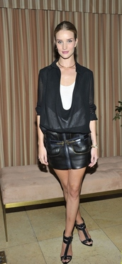 skirt,rosie huntington-whiteley,blouse,top,leather skirt,jewels,jewelry,necklace,gold choker,choker necklace,model,model off-duty,celebrity style,celebstyle for less