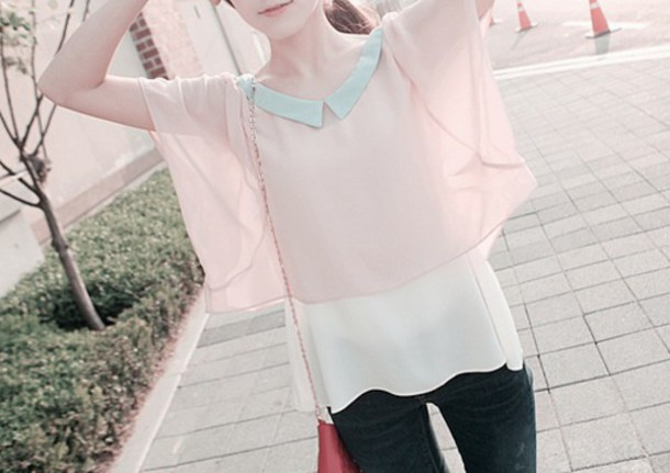 blouse pale pink blue shirt kawaii oversized korean fashion