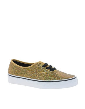 Vans | Vans Authentic Gold Glitter Trainers at ASOS