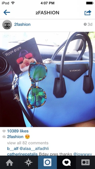 sunglasses cat eye accessories glasses clothes fashion bag chic givenchy givenchy bag blue bag mirrored sunglasses