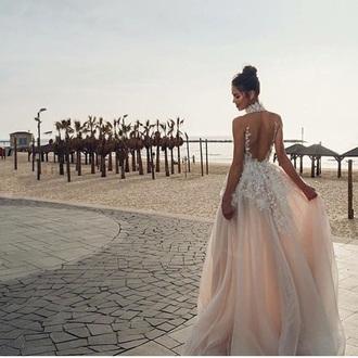 dress prom dress pink dress open back high neck mesh light pink