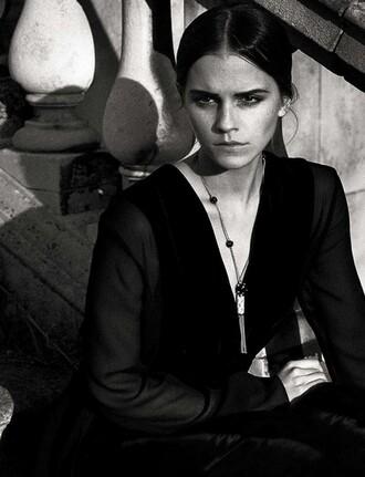 dress black black dress emma watson editorial necklace