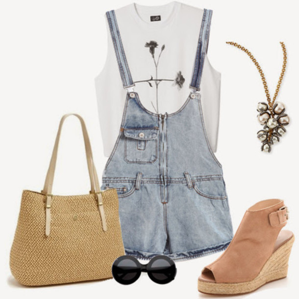 overalls denim romper denim overalls jewels shoes sunglasses bag short overalls