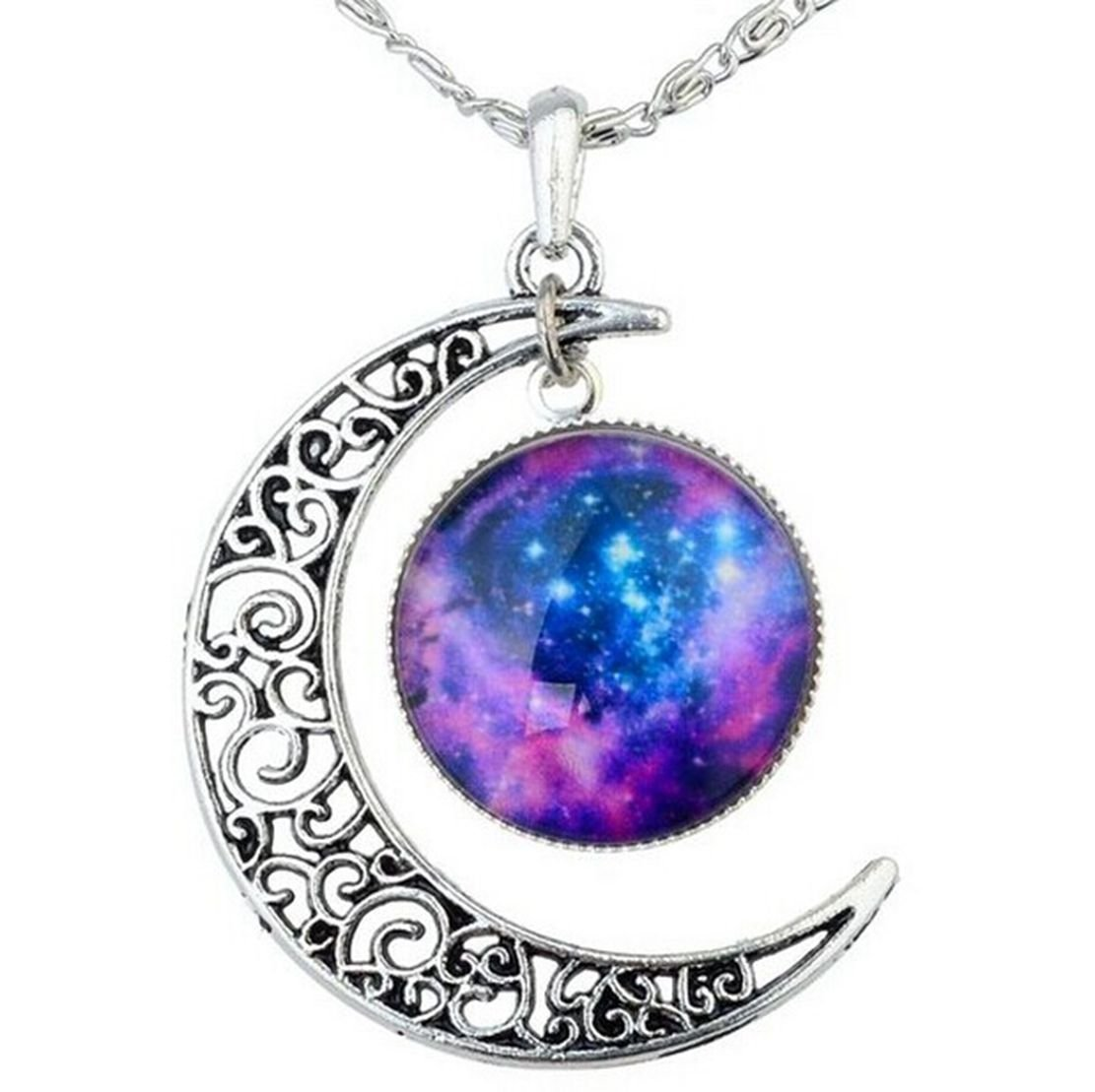 Amazon.com: tricess women's galaxy necklace hollow out crescent with blue purple star galactic cosmic moon charm necklace gift: sports & outdoors