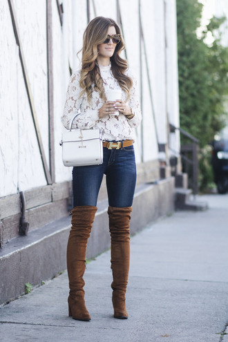 chicstreetstyle blogger top jeans sunglasses belt bag jewels shoes fall outfits boots over the knee boots white bag lace top