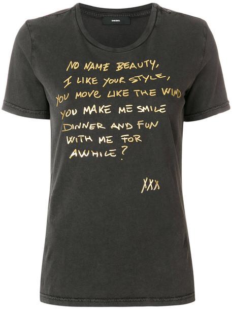 Diesel t-shirt shirt t-shirt women cotton grey top