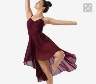 dress red high low flowy spaghetti strap leotard lyrical turner dance contemporary gathered