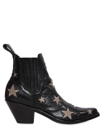 leather ankle boots boots ankle boots leather stars gold black shoes