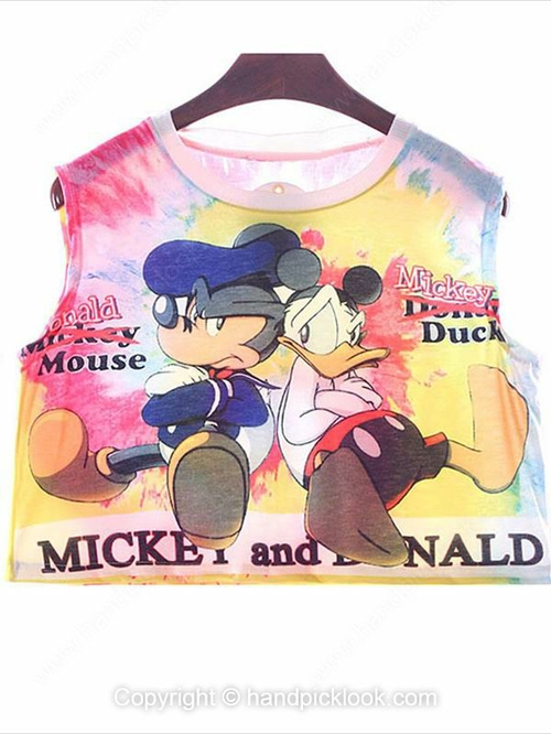 Yellow Sleeveless Mickey Mouse & Donald Duck Print Crop Vest - HandpickLook.com