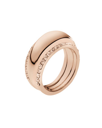 Michael Kors Pave-Insert Ring, Rose Golden - Michael Kors