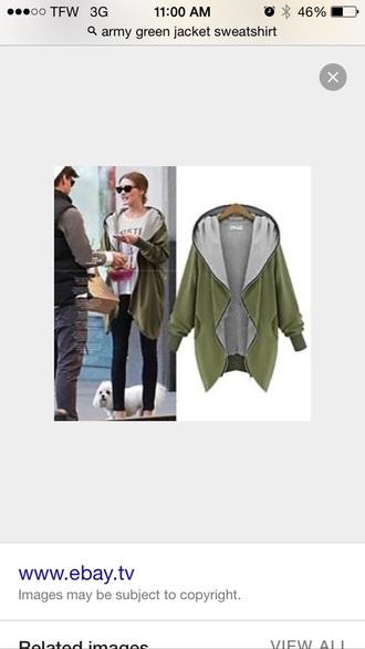 coat sweatshirt hooded soft army green jacket