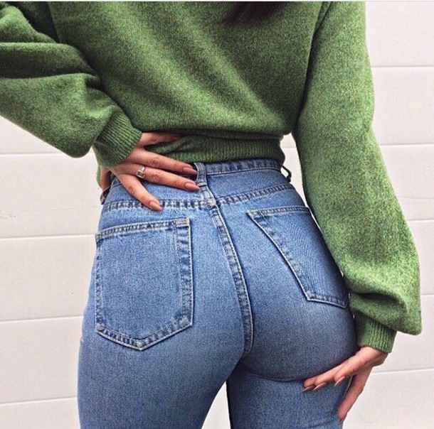 Jeans: blue, blue jeans, vintage, sweater, green, knitwear, jumper ...