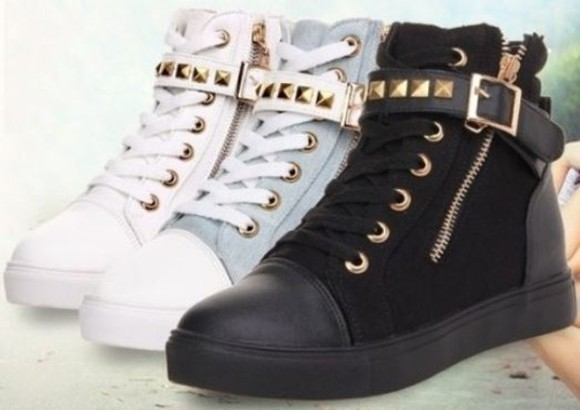 black shoes rivets blue chic white canvas buckle
