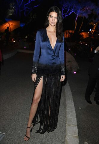 dress jacket blazer fringes sandals kendall jenner cannes plunge v neck plunge dress plunge neckline kardashians blazer dress shoes wrap dress blue dress maxi dress party dress