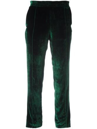 cropped women cotton silk green pants