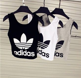 adidas sports top tank top shirt white black t-shirt grey t-shirt white t-shirt adidas shirt top adidas crop top blouse sportswear wear make-up cool logo sneaks sneakers heels nice tank t-shirt adidas tank top black grey fitniss