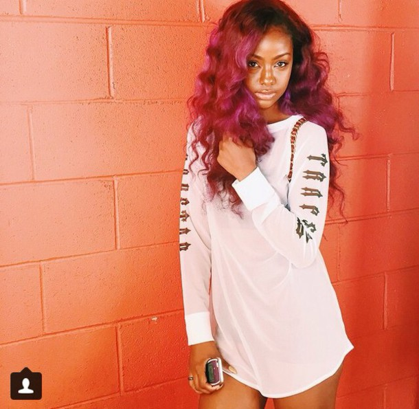 8d2287525acd blouse justine skye curly hair trapstar dope mesh white top shirt long  sleeves t-shirt
