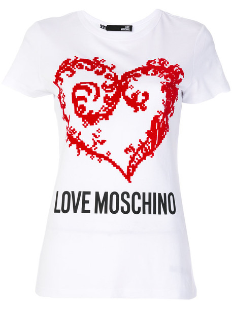 Love Moschino - heart logo T-shirt - women - Cotton - 44, White, Cotton