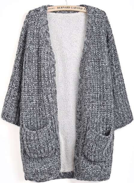 Cardigan: extra long, grey sweater, chunky knit cardigan - Wheretoget
