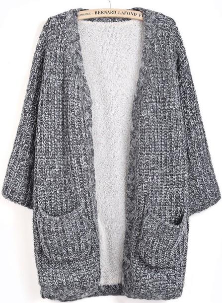 Knitting Patterns For Long Cardigan Chunky : Cardigan: extra long, grey sweater, chunky knit cardigan ...