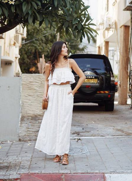 top tumblr crop tops co ord maxi skirt skirt white skirt sandals flat sandals white top shoes vacation outfits holidays