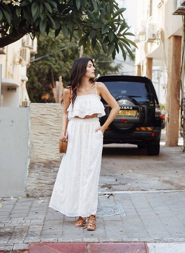 Top Tumblr Crop Tops Co Ord Maxi Skirt Skirt White