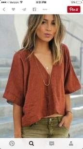 shirt,loose top,v neck,boho shirt,blouse,red,hippie,loose,top,linen,burgundy top,linen top,shorts,green shorts,necklace