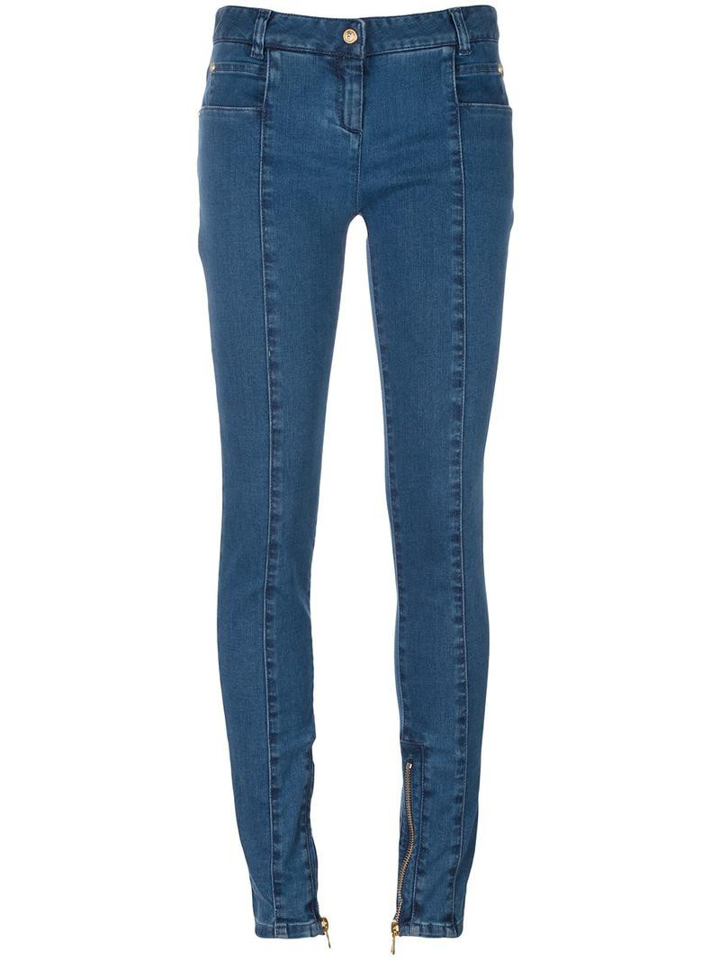 Balmain skinny zipped cuff jeans, Women's, Size: 40, Blue, Cotton/Spandex/Elastane