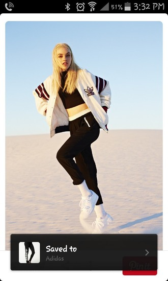 jacket adidas pants health goth top crop tops black crop top joggers black pants sneakers white sneakers sports jacket white jacket adidas jacket