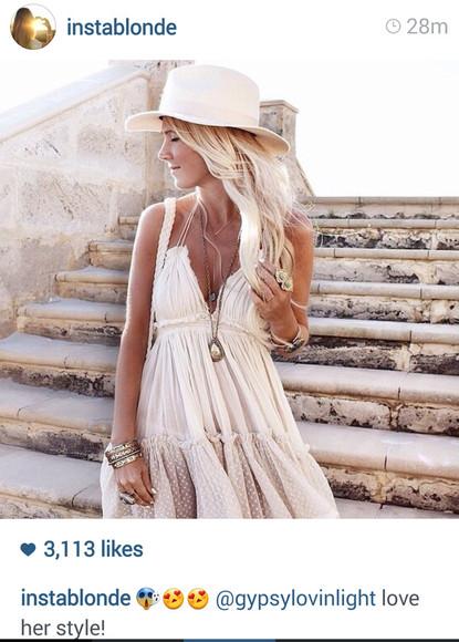 white dress bohemian dress cream dress