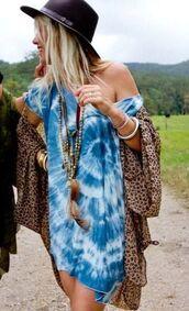 dress,tie dye,blue dress,blue tie dye,leopard kimono animal print winter fashion,leopard print,black hat,necklace,blouse,tunic dress,tie dye dress,hippie,boho shirt,boho dress,boho,boho chic,blue shirt,blue,white,cute,top,summer dress,summer outfits,style,t-shirt,t-shirt dress,tye dye dress,summer