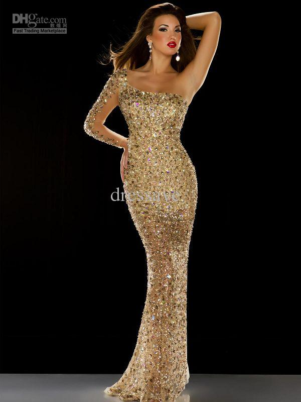 Discount 2013 new sexy vintage one shoulder gold rhinestone online with $307.97/piece