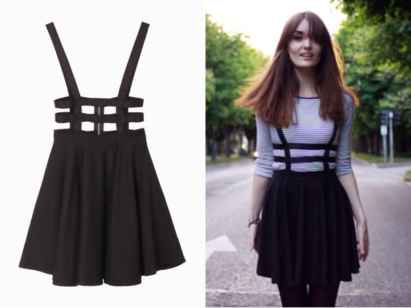 skirt black straps high waisted skirt