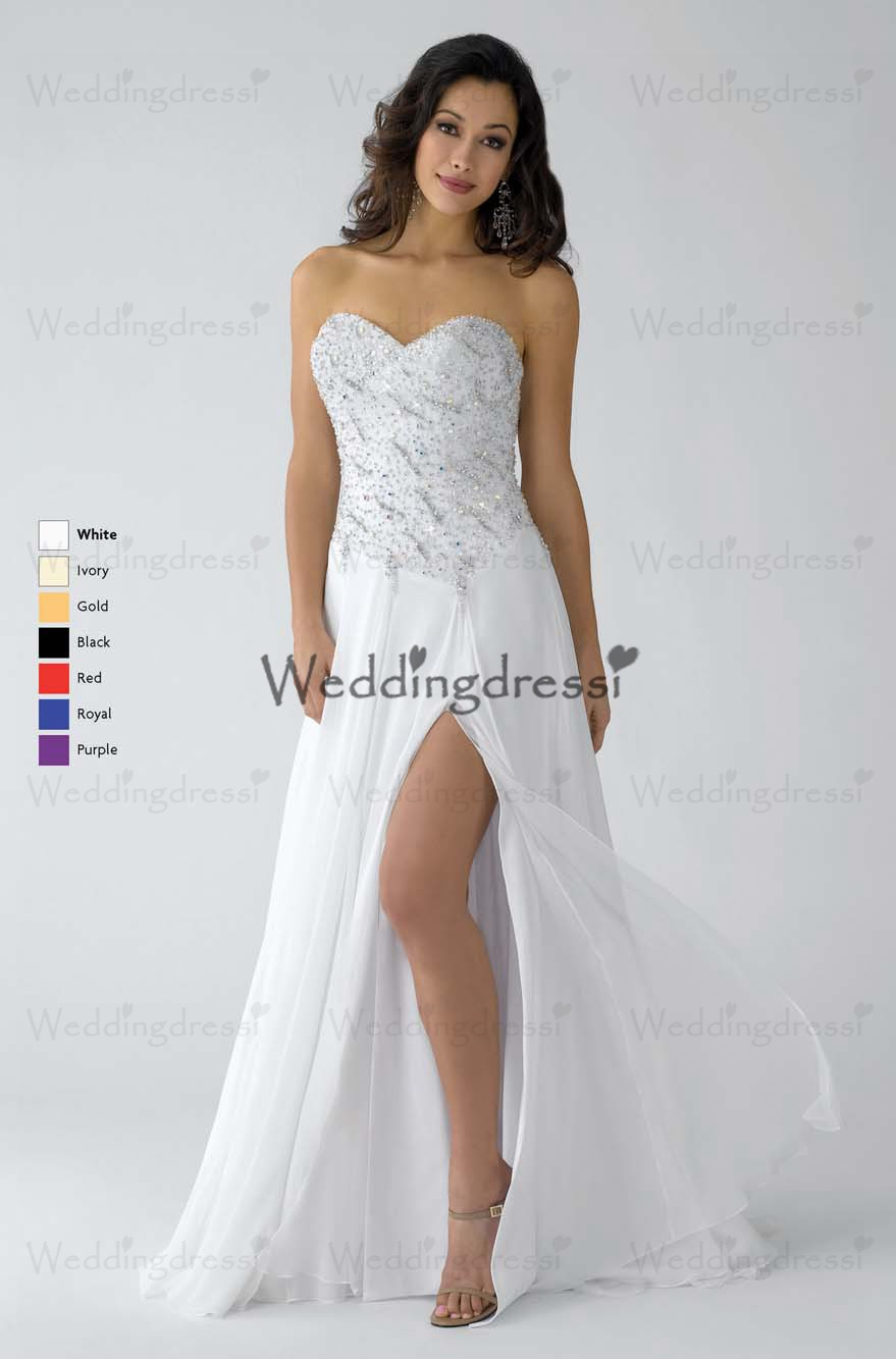 White A-Line Sweetheart And Strapless Zipper Floor Length Prom Dresses With Beading And High Slit [WT07631] - $156.13